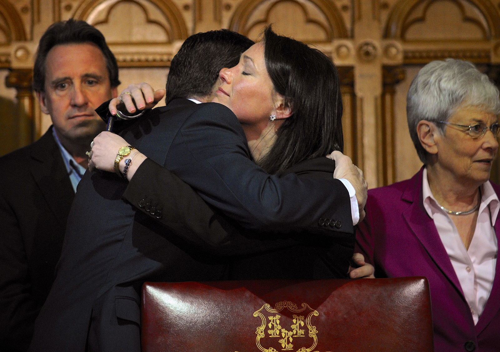 Governor Dan Malloy embraces Nicole Hockley, whose son was killed in the massacre at Sandy Hook Elementary along with 19 other first graders.